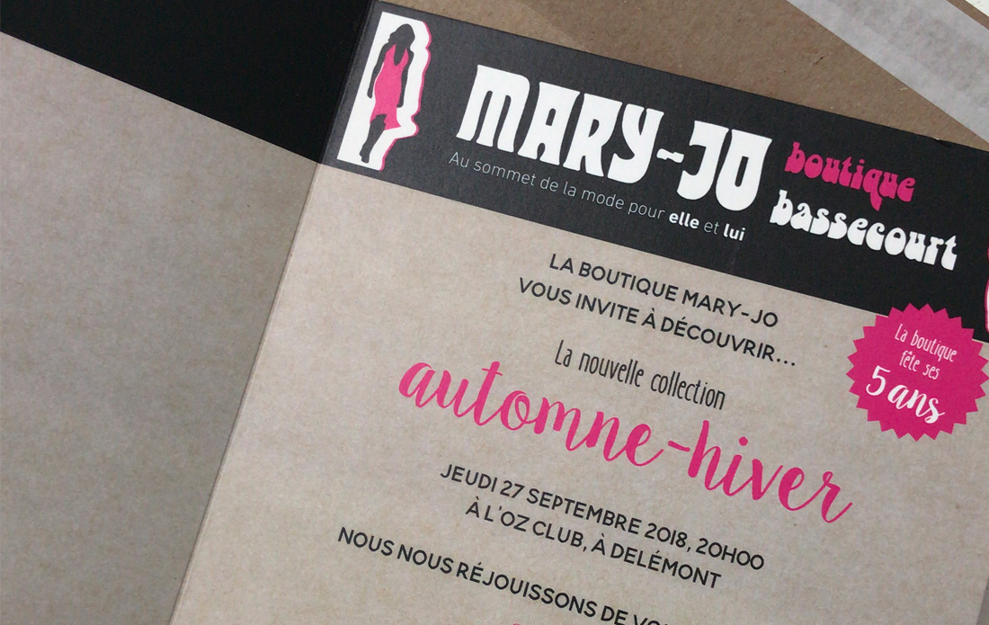 Invitation au défilé de la boutique Mary-Jo
