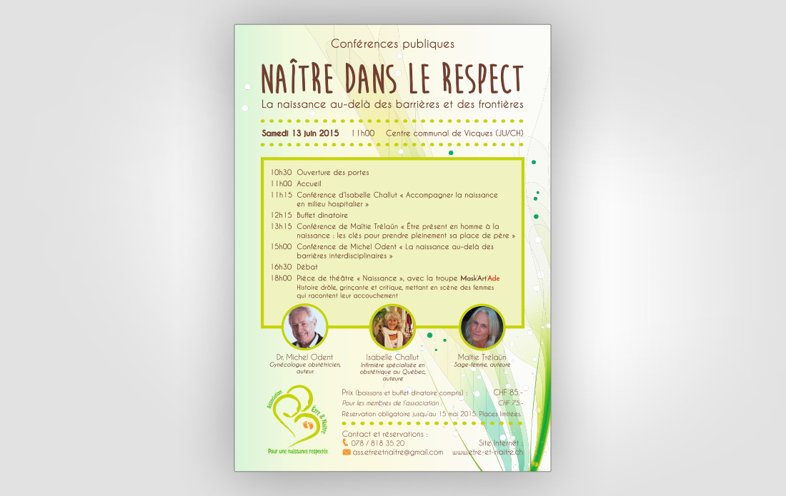 """Affiche pour la conférence publique """"Naître dans le respect"""""""
