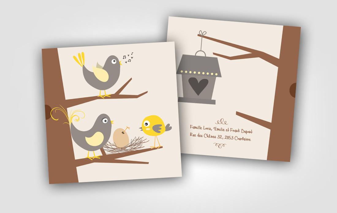 """Carte de naissance """"Oiseaux"""""""