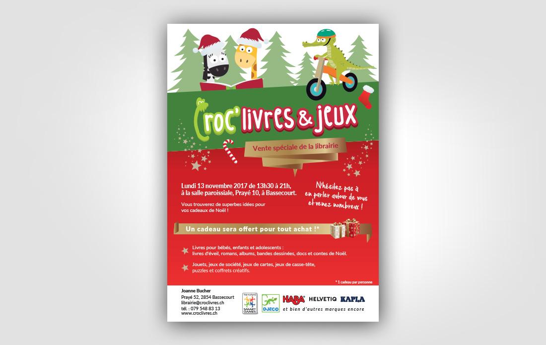 Croc'livres & jeux : flyer pour la vente spéciale de Noël