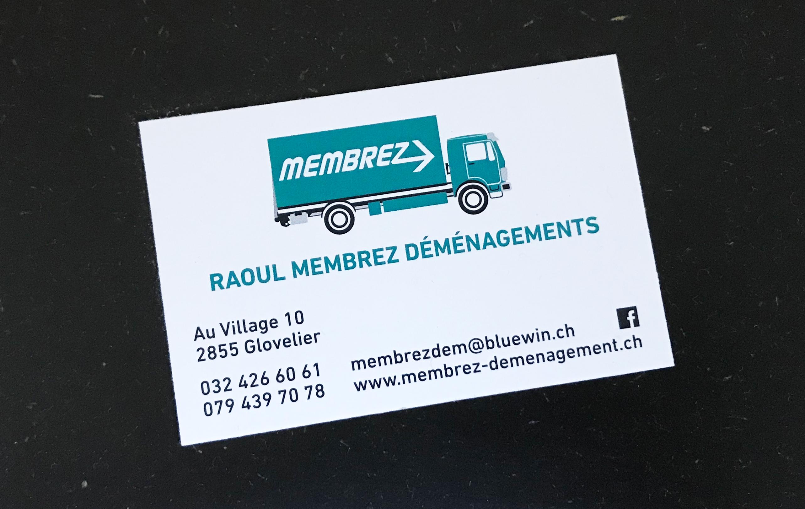 Carte de visite Raoul Membrez Déménagements Glovelier