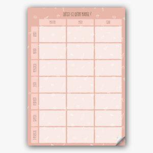 Planning des menus de la semaine