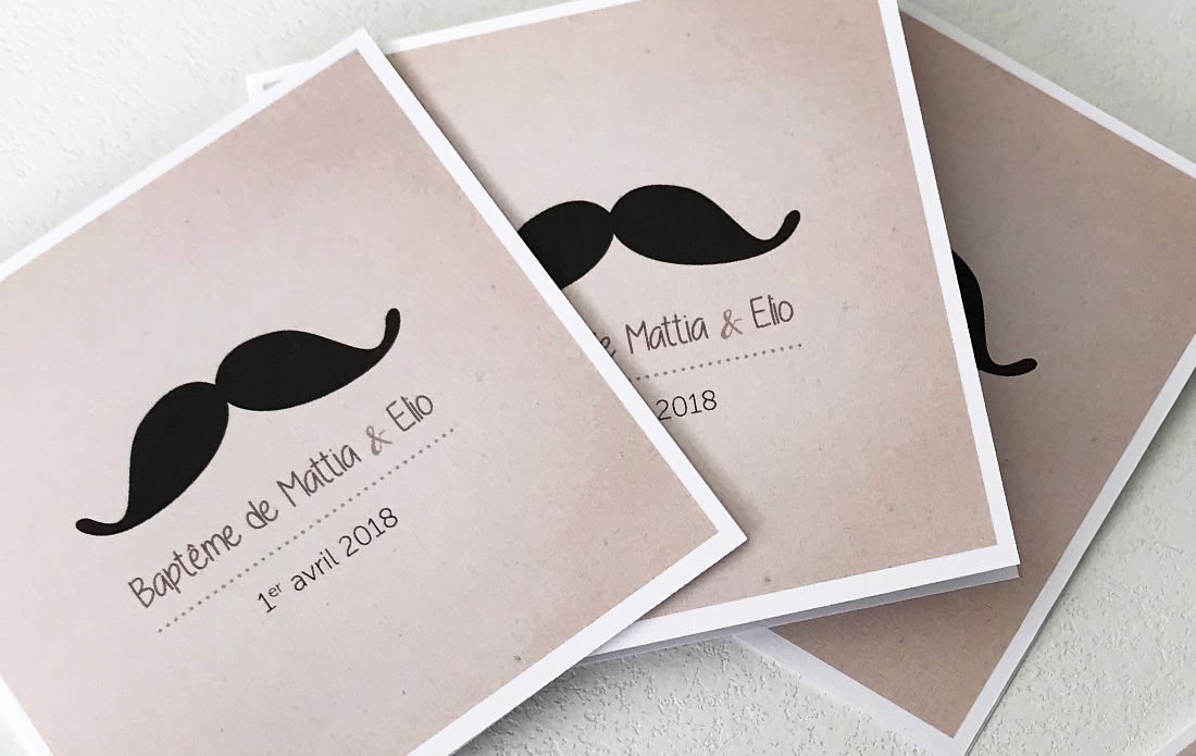 Carte d'invitation moustache