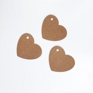 Étiquette papier kraft coeur