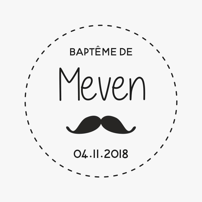 Tampon en bois, baptême moustache