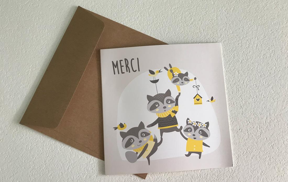 Carte de remerciements : la famille ratons-laveurs