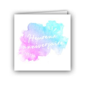 Carte aquarelle heureux anniversaire