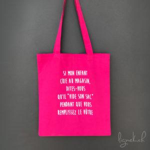 Tote bag personnalisée : enfant crie au magasin