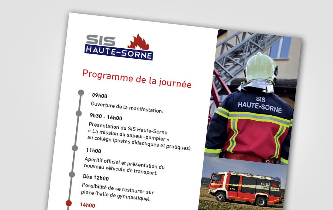 SIS Haute-Sorne, flyer, présentation des sapeurs-pompiers