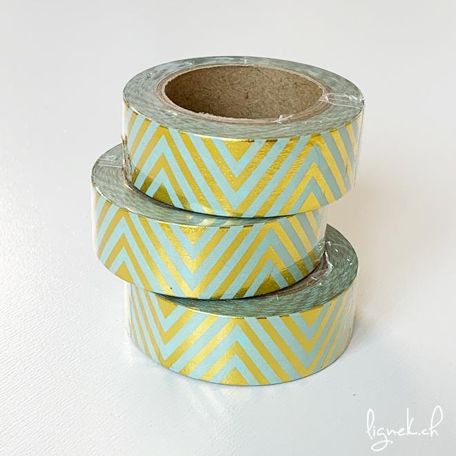 Ruban de masquage washi tape turquoise chevrons dorés