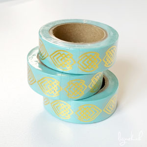 Ruban de masquage washi tape turquoise motifs dorés