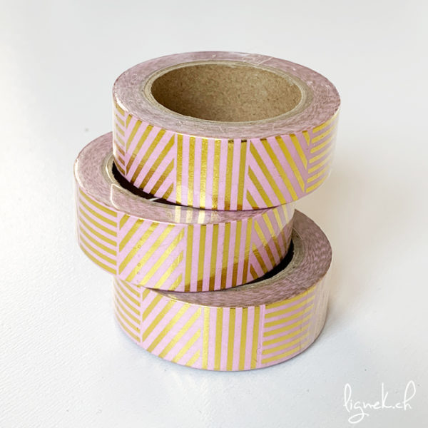 Ruban de masquage washi tape saumon à rayures