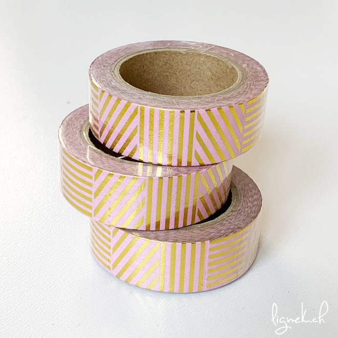Ruban de masquage washi tape saumon à rayures