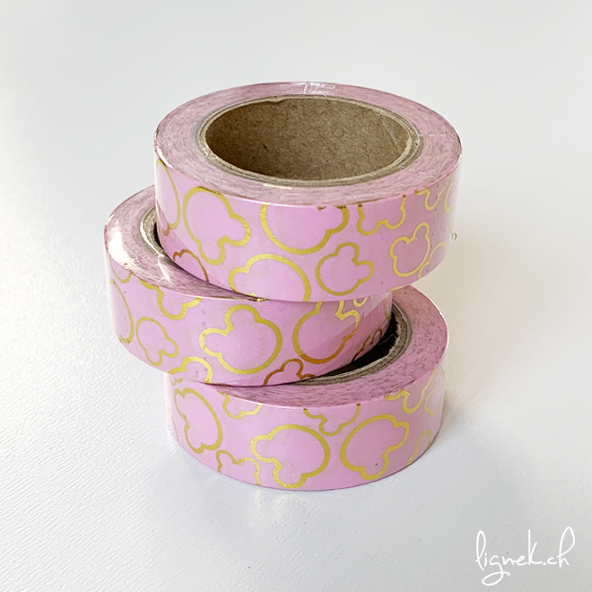 Ruban de masquage washi tape rose souris