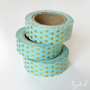 Ruban de masquage washi tape turquoise pois