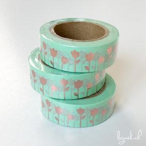 Ruban de masquage washi tape turquoise tulipes