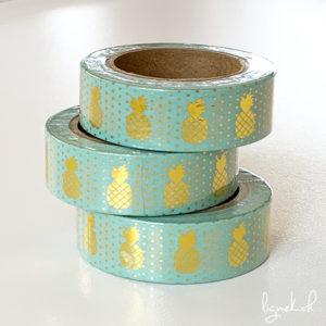 Ruban de masquage washi tape turquoise ananas