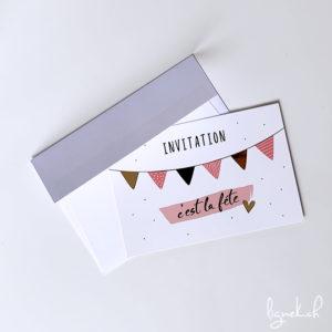 Carte invitation dorée