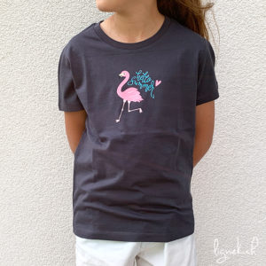 T-shirt flamant rose hello summer