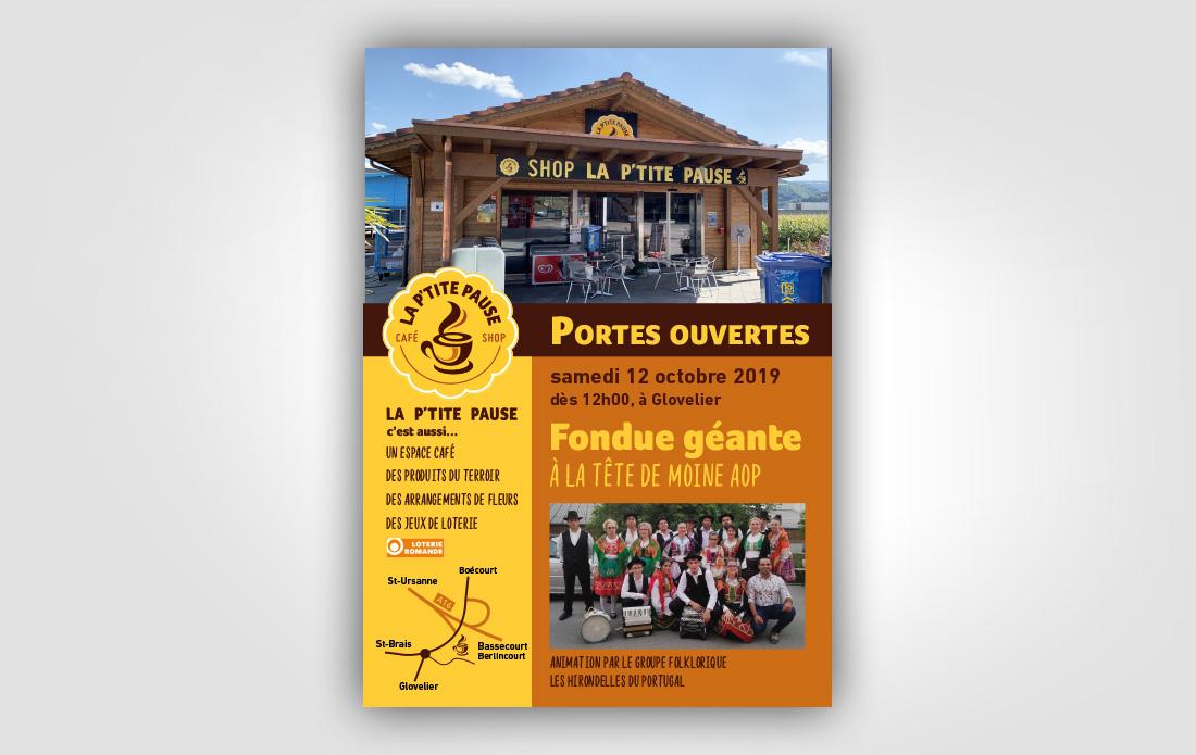 Flyer portes ouvertes La p'tite Pause, Glovelier