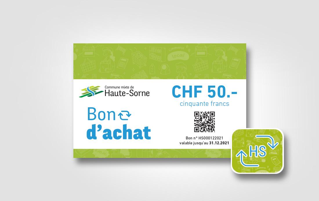 Bon d'achat et autocollant, commune de Haute-Sorne