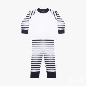 Pyjama à rayures marine et blanc