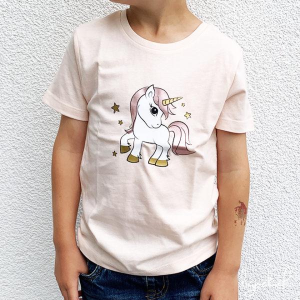 T-shirt licorne rose pastel