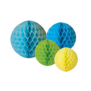 Boules décoratives en papier bleu jaune vert