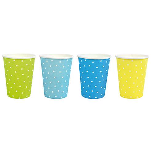 Gobelets à pois bleu/jaune/vert JABADABADO