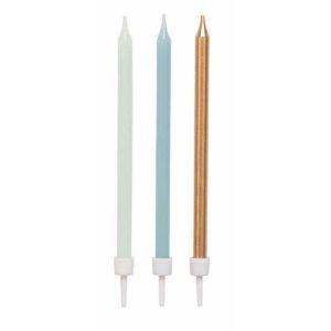 Set bougies bleu or - 12 pièces