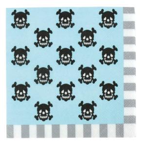 Serviettes pirates bleu 16,5 x 16,5 cm